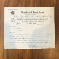 Brooklyn, NY - C.J.Tagliabue LETTER SIGNED - 1902 - MACHINIST - VINTAGE RARE