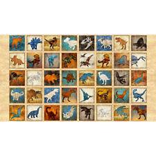 Quilting Treasures ~ 40 Batik Look Dinosaurs Squares ~ 100% Cotton Quilt Fabric