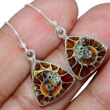 """Fossil"" Ammonite 925 Sterling Silver Earrings Jewelry AE164096"