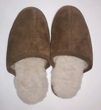 Brookstone Men's Winter Slippers Soft Shearling Sock Brown Leather Size 8 - 9