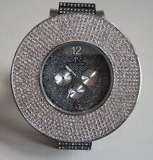 Men's big hip hop bling clubbing hematite/Silver finish fashion dressy watch