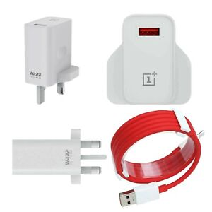 Original OnePlus Warp Charge 30W Power Adapter With Red Dash Data Cable UK