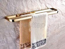 Gold Color Brass Wall Mounted Bathroom Double Towel Rail Holder Rack Bar sba842