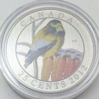 2012 Specimen Twenty Five 25 Cents RCM Evening Grosbeak Canada Not In Case C953