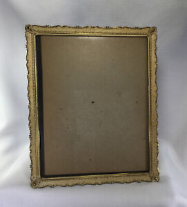 Vintage 8x10 Ornate Gold Tone Metal Easel Back Frame
