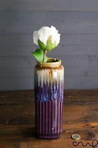 Handmade Ceramic Rectangle Decorative Flower Vase Purple Home Square Glossy Gift