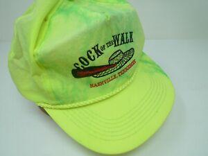 VTG 80s COCK OF THE WALK NASHVILLE TN Baseball Nylon Hat Cap Embroidery Yellow