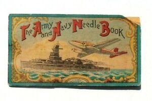 Antique Vtg Needle Book Sample Case Advertising The Army Navy Battle Ship