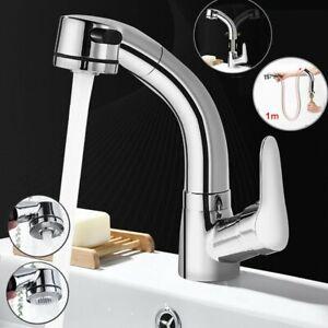 Waschtischarmatur Ausziehbar Waschbecken Wasserhahn mit Brause Mischbatterie Bad
