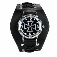 Men Punk Cross Dial Sport Analog Wrist Watch Chain Wide Black Leather Band Cuff