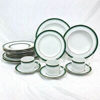 18 PC SET PHILIP KINGSLEY CLASSIC EMERALD DINNER SALAD PLATE RIM SOUP CUP SAUCER