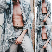 Mens Printed Kimono Japanese Coat Jacket Outwear Open Front Cardigan Plus Size