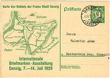 Danzig Ganzsache P46 nach Bärenstein Bez.Chemnitz 1929 mit Stempel Langfuhr
