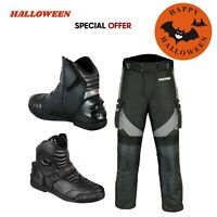 Halloween Special Offer Mens Motorbike Leather Boots Motorcycle Textile Trousers