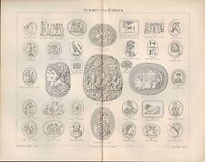 Lithografie 1893: Gemmen Kameen. Gold Kunst Handwerk Tradition Schmied Schmuck