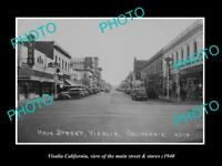 OLD LARGE HISTORIC PHOTO OF VISALIA CALIFORNIA, THE MAIN STREET & STORES c1940