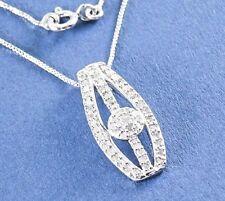 "Genuine Diamond Necklace .35ct Platinum on 925 Sterling Silver 18"" Appraisal Inc"
