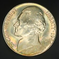 1944-S Jefferson Nickel Superb Gem UNC With Rainbow Colorful Toning! GC453