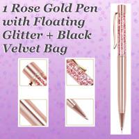 🌹 1 Rose Gold Pen w/Floating Glitter + Velvet Pen Gift Bag! Mother's Day Gift!