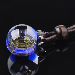 1x Handmade Lampwork Blue Galaxy Universe Ball Pendant Charm 27~28x20~21x19~20mm