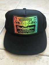 Vintage Budweiser Trucker Hat Adjustable Neon Black NEW!