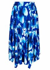 Hanky hem asymmetrical elastic waist Spring Summer holiday skirt 14 blue floral