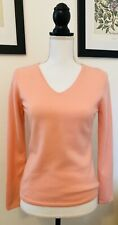 Talbots Pure Cashmere V neck Long Sleeve Sweater in Pink Peach Coral Size Small