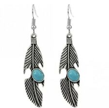 Vintage Ethnic Feather Boho Style-Turquoise Stone Drop Earrings Antique Silver