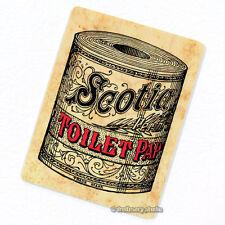 Toilet Paper Deco Magnet, Decorative Fridge Bathroom Décor Antique Illustration