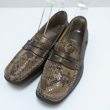 Hotter Etna Loafers Size 5.5 Leather Comfort Flats Bronze Metallic Snakeskin