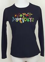 Christmas Top T Shirt Long Sleeve Size S Black Happy Holidays Ugly Embroidery