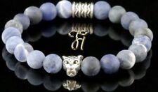 Sodalithe Bleu Mat 8mm Bracelet Bracelet de Perles Argenté Tête de Léopard
