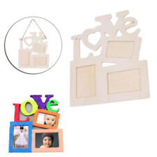 Hollow Love Wooden Family Photo Picture Frame White Base Art DIY Home Decor