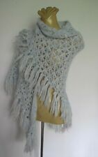 SHAWL Hand KNIT Pastel blue Triangle Tassel 1970s Vintage Handmade Stole WRAP