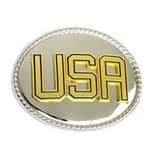USA Gold-Silver Oval Belt Buckle