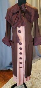 True Vintage 30's 40's Art Deco Dress S Brown & Rose integrated coat long