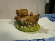 Bear Cub In Tree Trunk Apple In Paw Homco Masterpiece Porcelain 1986 Signed~Nice