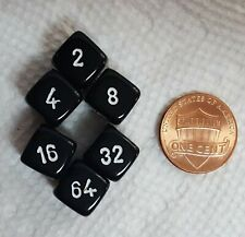 Backgammon Doubling Cubes - 10mm - Opaque Black with White Numbers! Three Pairs!