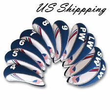 10 pcs Golf Head Cover Club Iron HeadCovers Wedge Protect set Neoprene USA Flag