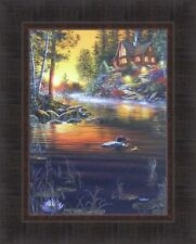 COMPLETE SERENITY by Jim Hansel 17x21 Log Cabin Lake Boat Sunset FRAMED PRINT