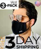 (3-PACK) Premium Face Mask - Reusable Washable & Adjustable - Multiple Layers