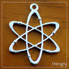 Atom charm~1pc~ electron nuclear physics icon science teacher gift silver