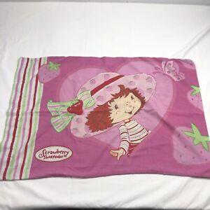 Strawberry Shortcake Double Sided Girl's Pink Striped Single Standard Pillowcase