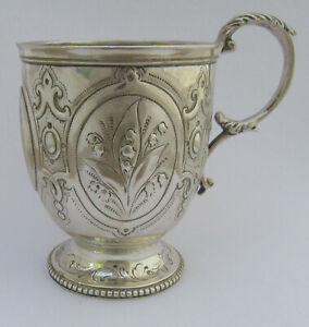 Ornate Victorian Gothic Silver Harebell Christening Mug, London 1862, John Evans