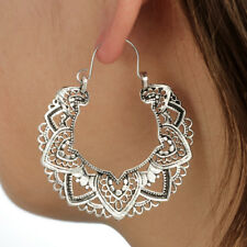 Gipsy Hippie Design Tribal Ohrringe Ohrhänger Creolen Antik Silber plattiert