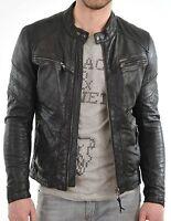 New 100% Leather Jacket Coat Men Slim Men's Outwear Black Biker Moto Jacket