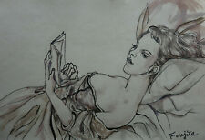Modernist Portrait of a woman, Marked, signed, Leonard Tsuguharu Foujita