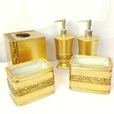 Croscill Platinum Leaf Gold Tissue Box Cover Soap Lotion Dispenser Holders 4 Pc