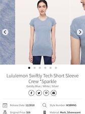 Women's Lululemon Swiftly Tech Blue Short Sleeve Crew Sparkle Top Shirt Size 6