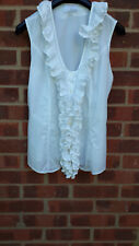 HUGO BOSS white cotton/linen ruffle top size UK 8, IT 40, FR 38